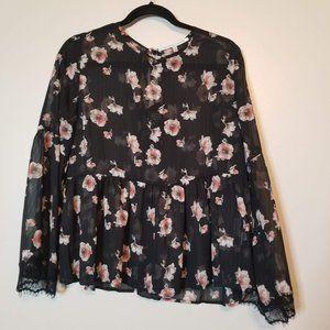 Collective Concepts Black Sheer Floral Shirt Sz M
